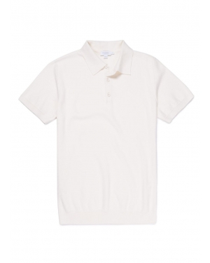 Men's Short Sleeve Rack Stitch Polo in Off White