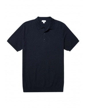 Men's Cotton Fine Texture Knitted Polo Shirt in Navy