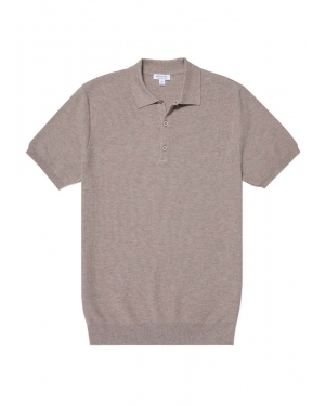 Men's Cotton Fine Texture Knitted Polo Shirt in Oatmeal Melange
