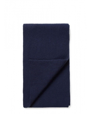 Cashmere Rib Scarf in Navy
