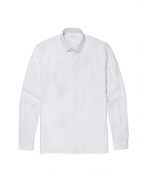 Men's Cotton Oxford Shirt with Dot Print in White