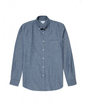 Men's Chambray Button-Down Shirt in Blue Dobby