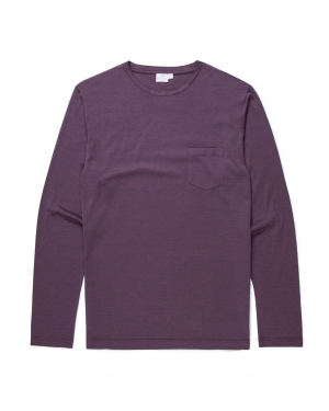 Men's Cotton Long Sleeve T-Shirt with Pocket in Masonry Blue Feeder Stripe