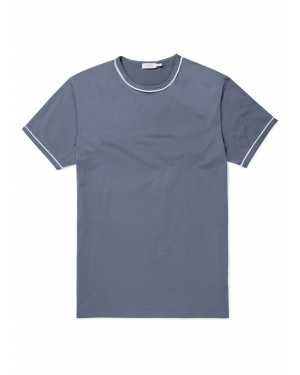 Men's Cotton T-Shirt Piped Trim in Blue Slate