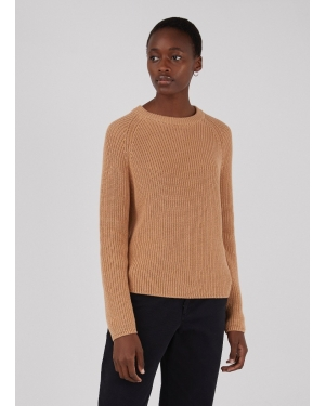 Women's Cotton Rib Boxy Jumper in Toffee