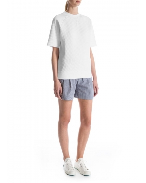 Women's Quilted Jacquard Cotton Short Sleeve Sweatshirt in White