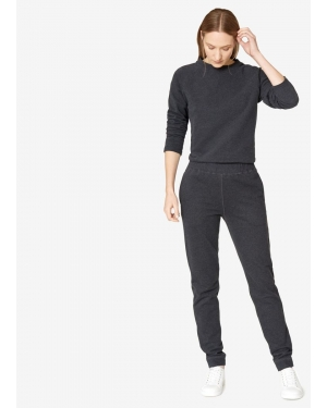 Women's Cotton Loopback Track Pants in Black Marl