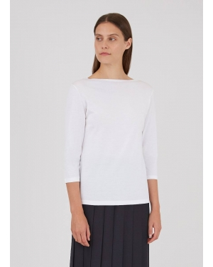 Women's Cotton Boat Neck T-Shirt in White