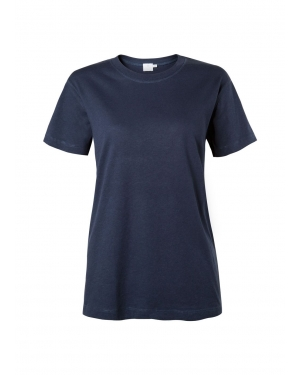 Women's Distressed Cotton Relaxed Crew Neck T-Shirt in Navy