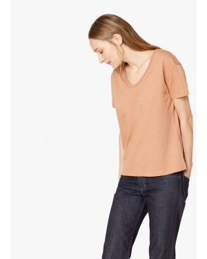Women's Cotton Relaxed Scoop Neck T-Shirt in Tan