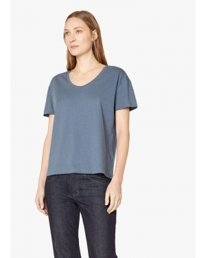 Women's Cotton Relaxed Scoop Neck T-Shirt in Blue Slate