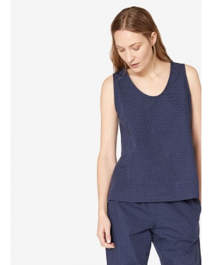Women's Cotton Sleeveless Top with Polka Dot in Navy
