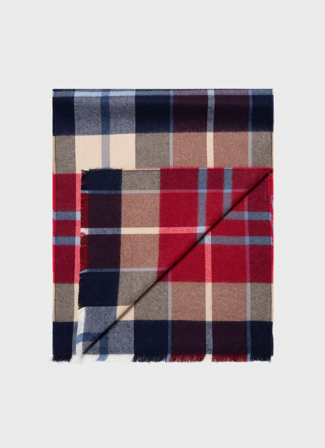 Merino Woven Scarf in Red Check