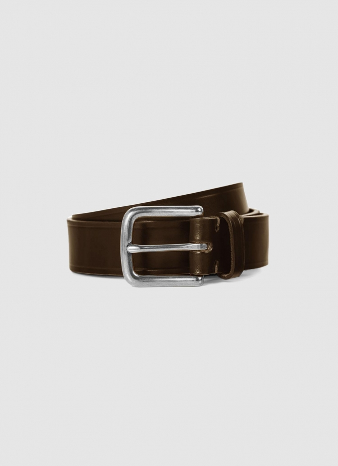 30mm Chunky Leather Belt in Brown