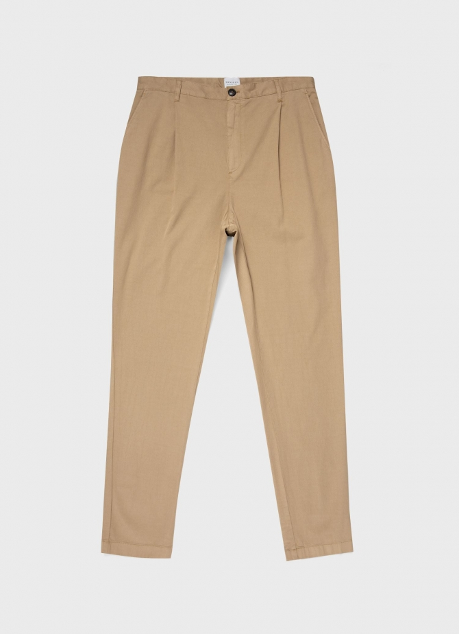 Cotton Drill Pleated Trouser