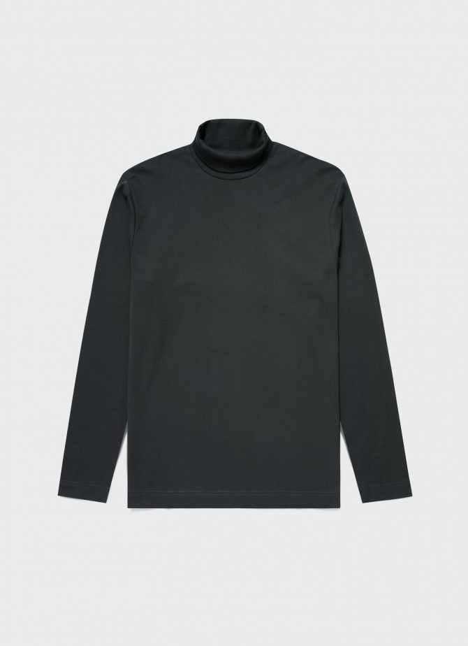 Men's Brushed Cotton Long Sleeve Turtle Neck in Forest