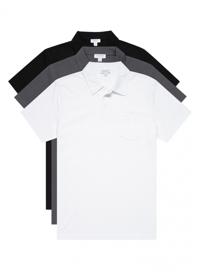 Three-Pack Men's Cotton Riviera Polo Shirts in Core Colours (save 20%)