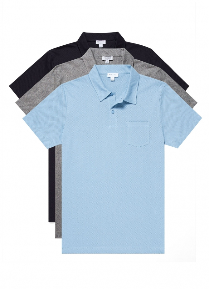Three-Pack Men's Cotton Riviera Polo Shirts in Exclusive Bond Colours (save 20%)