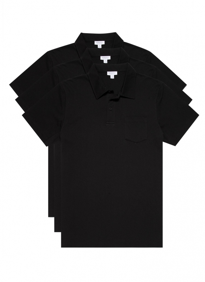 Three-Pack Men's Cotton Riviera Polo Shirts in Black (save 20%)