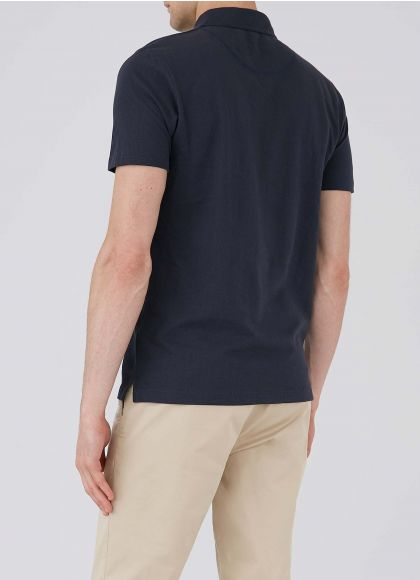 Men's Cotton Riviera Polo Shirt in Navy - back model shot